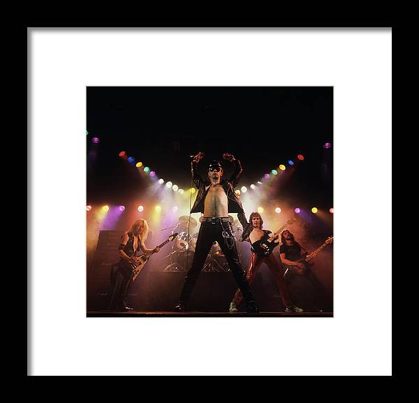 People Framed Print featuring the photograph Judas Priest Album Cover Shoot by Fin Costello