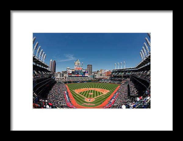American League Baseball Framed Print featuring the photograph Kansas City Royals V Cleveland Indians by Joe Robbins