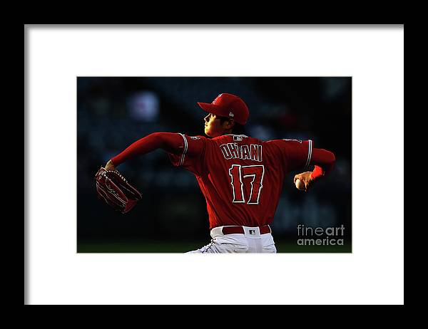 Three Quarter Length Framed Print featuring the photograph Kansas City Royals V Los Angeles Angels by Sean M. Haffey
