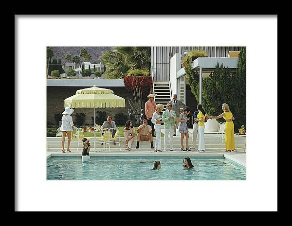 People Framed Print featuring the photograph Kaufmann Desert House by Slim Aarons