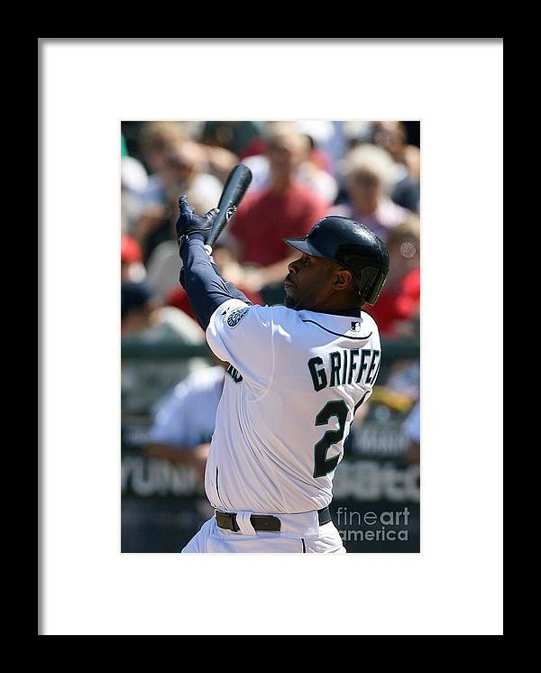 American League Baseball Framed Print featuring the photograph Ken Griffey Jr. Retires From Seattle by Otto Greule Jr