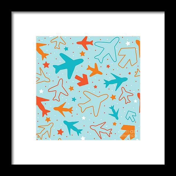 Plane Framed Print featuring the digital art Kids Pattern Background With Color by Barkarola