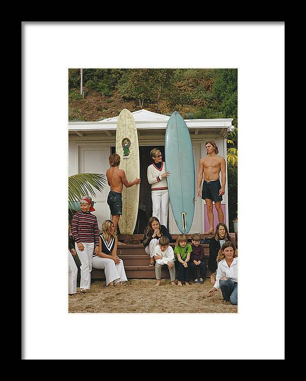 Laguna Beach Framed Print featuring the photograph Laguna Beach Surfers by Slim Aarons