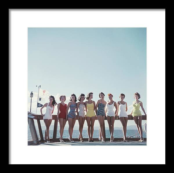 People Framed Print featuring the photograph Lake Tahoe Ladies by Slim Aarons
