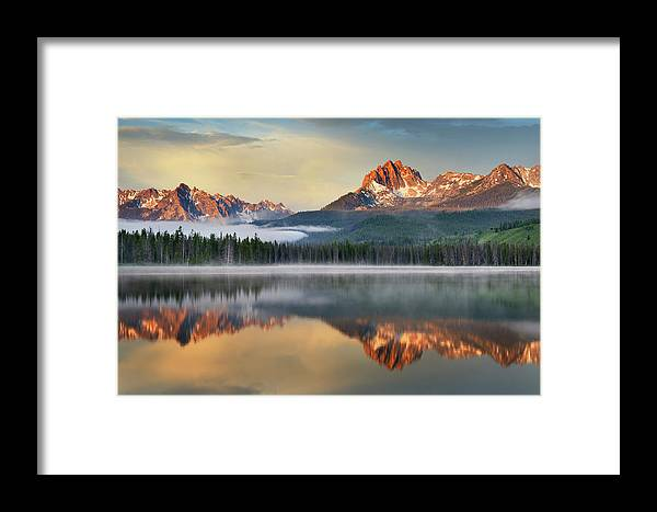 Scenics Framed Print featuring the photograph Little Redfish Lake, Sawtooth Mountains by Alan Majchrowicz