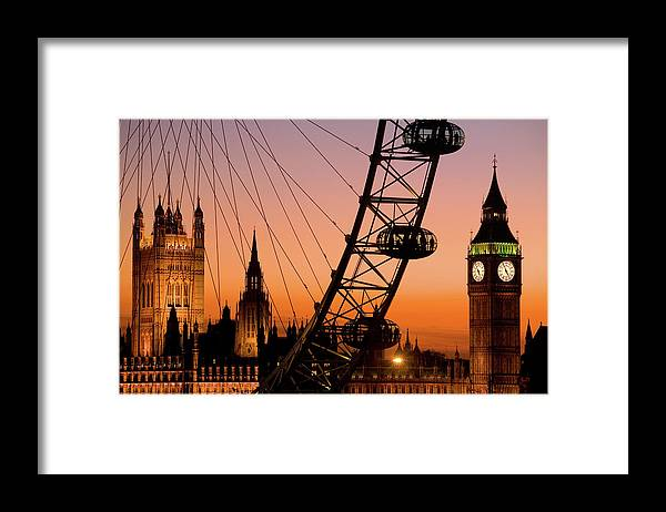 Clock Tower Framed Print featuring the photograph London Eye And Big Ben At Dusk by Scott E Barbour