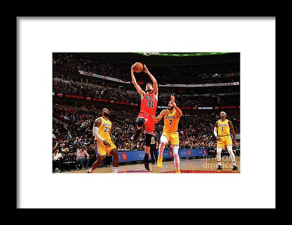 Nba Pro Basketball Framed Print featuring the photograph Los Angeles Lakers V Chicago Bulls by Jesse D. Garrabrant