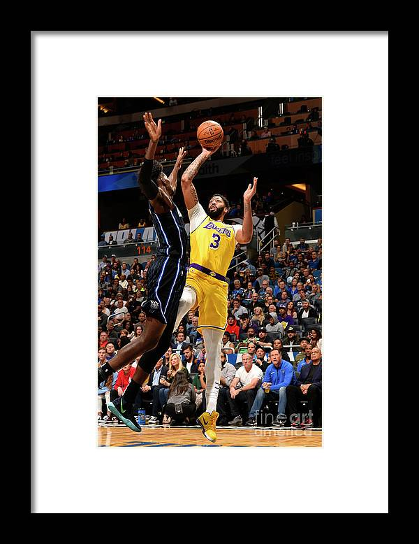 Nba Pro Basketball Framed Print featuring the photograph Los Angeles Lakers V Orlando Magic by Gary Bassing