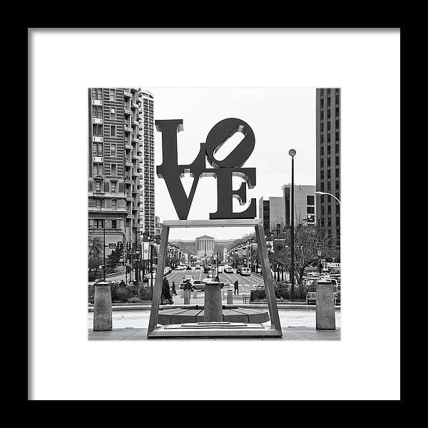 Urban Scenes Framed Print featuring the mixed media Love by Erin Clark
