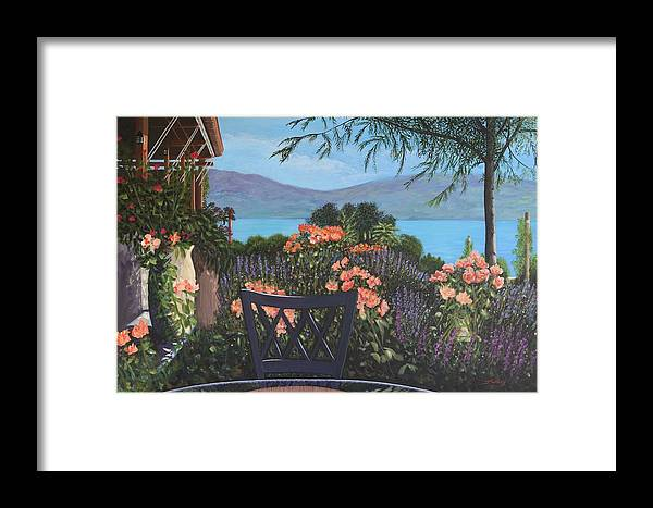 B.c.winery Framed Print featuring the painting Lunch At Quails' Gate 1 by Johanna Wray