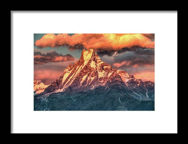 Tranquility Framed Print featuring the photograph Machapuchare Mountain, Fish Tail In by Emad Aljumah