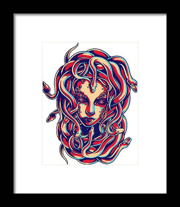 Greek-mythology Framed Print featuring the digital art Medusa by Passion Loft