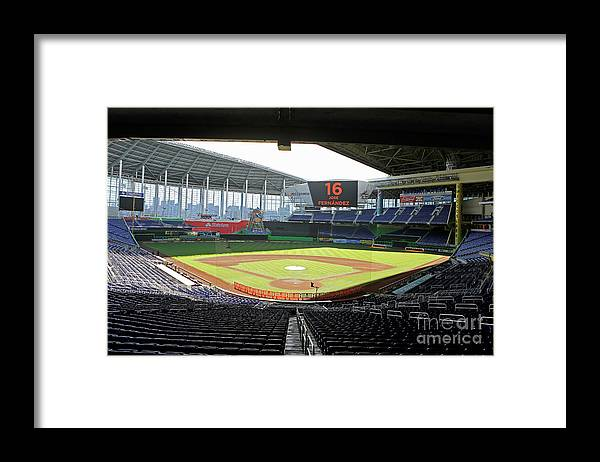 American League Baseball Framed Print featuring the photograph Miami Marlins News Conference by Joe Skipper