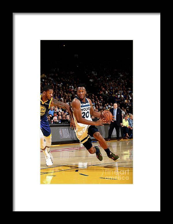 Nba Pro Basketball Framed Print featuring the photograph Minnesota Timberwolves V Golden State by Noah Graham