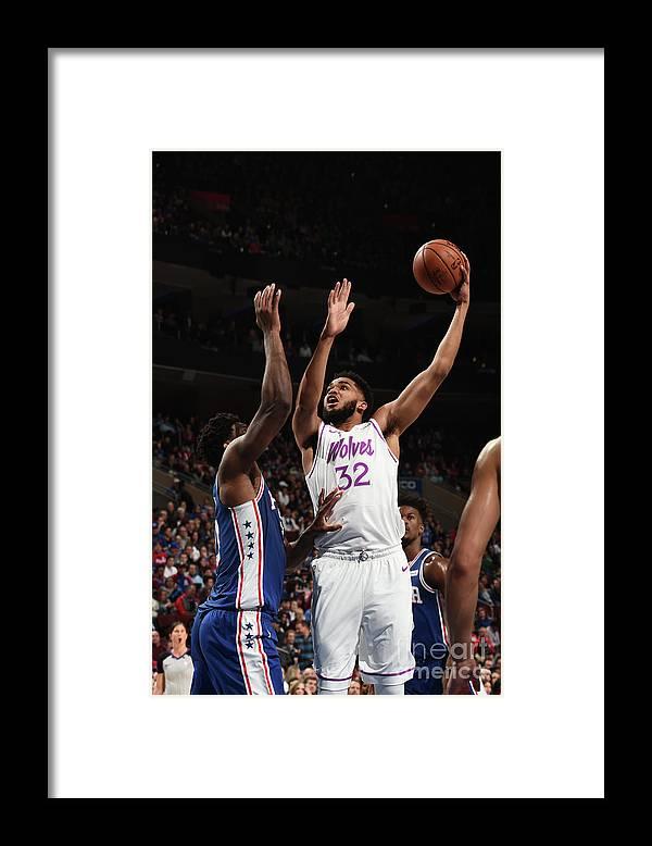 Nba Pro Basketball Framed Print featuring the photograph Minnesota Timberwolves V Philadelphia by David Dow