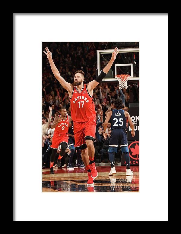Nba Pro Basketball Framed Print featuring the photograph Minnesota Timberwolves V Toronto Raptors by Ron Turenne