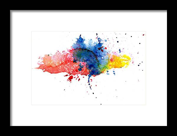Watercolor Painting Framed Print featuring the photograph Multicolored Splashes by Alenchi