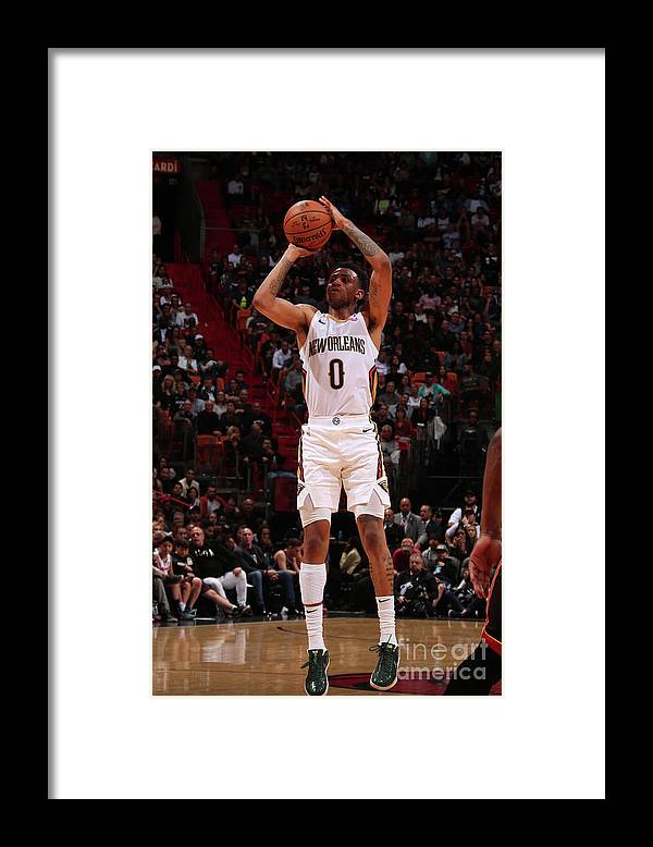 Nba Pro Basketball Framed Print featuring the photograph New Orleans Pelicans V Miami Heat by Issac Baldizon