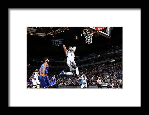 Nba Pro Basketball Framed Print featuring the photograph New York Knicks V Minnesota Timberwolves by David Sherman