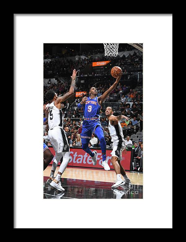 Nba Pro Basketball Framed Print featuring the photograph New York Knicks V San Antonio Spurs by Garrett Ellwood