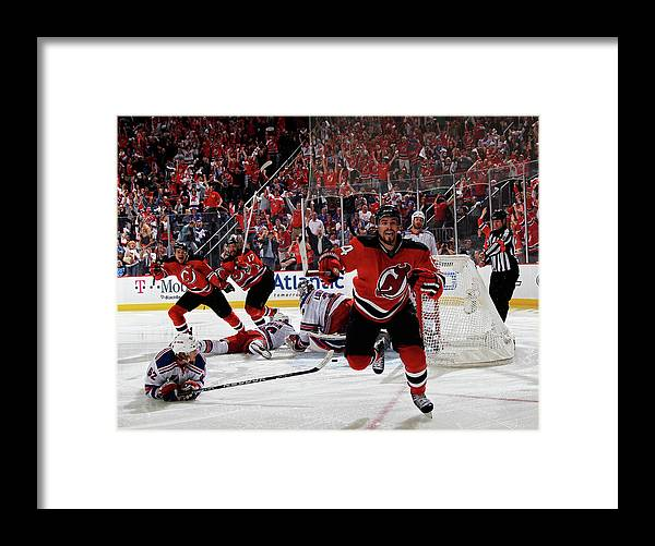 Playoffs Framed Print featuring the photograph New York Rangers V New Jersey Devils - by Bruce Bennett