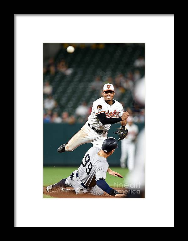 People Framed Print featuring the photograph New York Yankees V Baltimore Orioles 1 by Greg Fiume