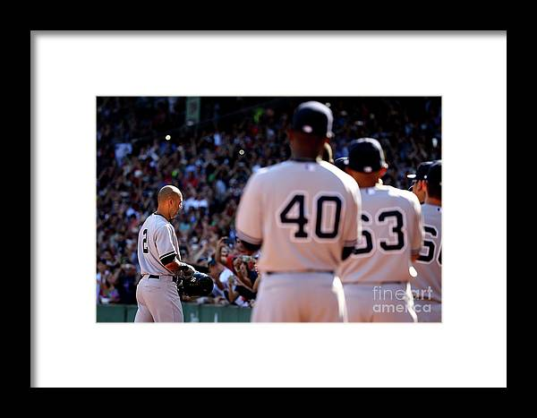 American League Baseball Framed Print featuring the photograph New York Yankees V Boston Red Sox 1 by Al Bello