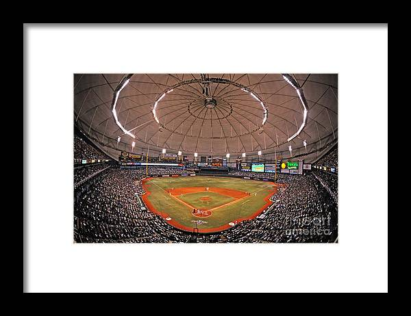 American League Baseball Framed Print featuring the photograph New York Yankees V Tampa Bay Rays by Al Messerschmidt