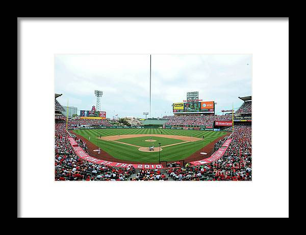 American League Baseball Framed Print featuring the photograph Oakland Athletics V Los Angeles Angels by Rich Pilling