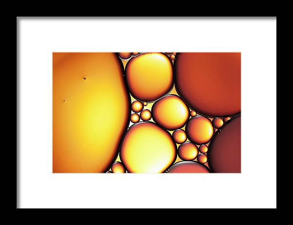 Backgrounds Framed Print featuring the photograph Oil & Water - Abstract Background Red by Thomasvogel