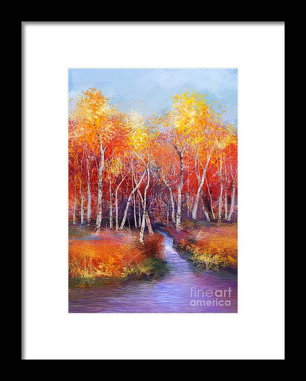 Paint Framed Print featuring the digital art Oil Painting Landscape - Colorful by Pluie r