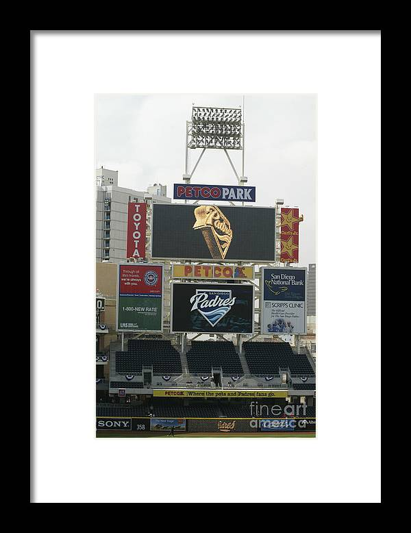 Opening Framed Print featuring the photograph Padres V Giants by Rob Leiter