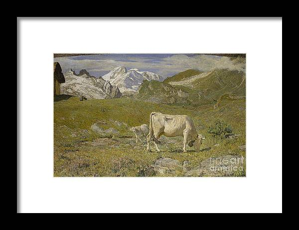 Oil Painting Framed Print featuring the drawing Pascoli Di Primavera Spring Pastures by Heritage Images