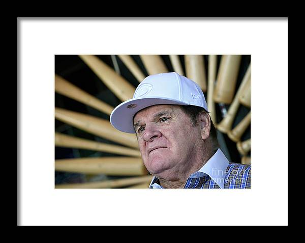 People Framed Print featuring the photograph Pete Rose Speaks To Media After 1 by Ethan Miller