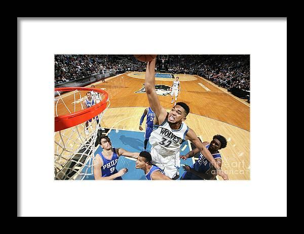 Nba Pro Basketball Framed Print featuring the photograph Philadelphia 76ers V Minnesota by David Sherman