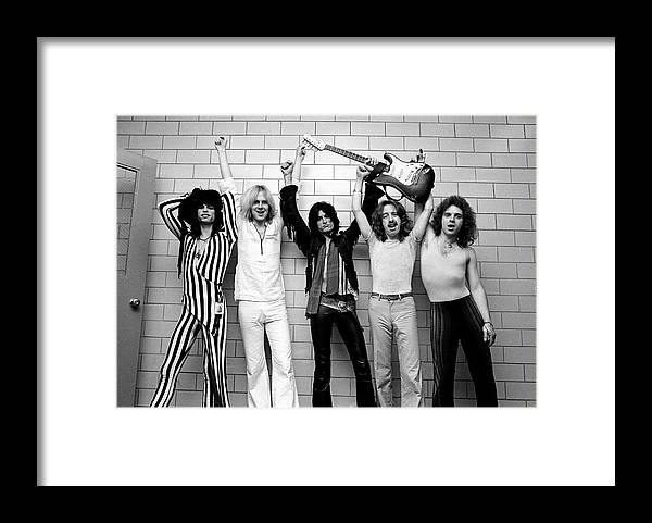 Tom Hamilton Framed Print featuring the photograph Photo Of Aerosmith And Tom Hamilton And by Fin Costello