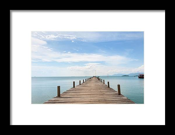 Scenics Framed Print featuring the photograph Pier On Koh Samui Island In Thailand by Pidjoe