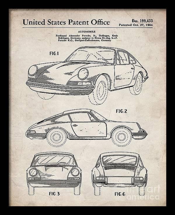 Porsche 911 Patent, 911 Carrera Art - Antique Vintage by Patent Press