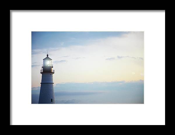 Outdoors Framed Print featuring the photograph Portland Head Lighthouse At Sunrise by Thomas Northcut