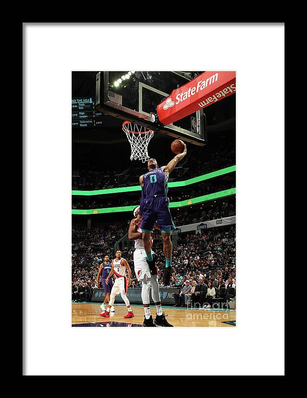 Nba Pro Basketball Framed Print featuring the photograph Portland Trail Blazers V Charlotte by Brock Williams-smith