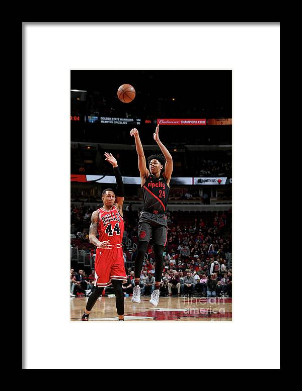 Nba Pro Basketball Framed Print featuring the photograph Portland Trail Blazers V Chicago Bulls by Gary Dineen