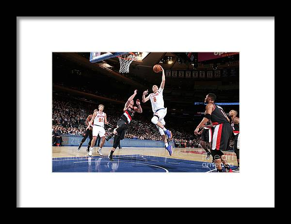 Nba Pro Basketball Framed Print featuring the photograph Portland Trail Blazers V New York Knicks by Nathaniel S. Butler