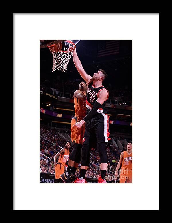 Jusuf Nurkić Framed Print featuring the photograph Portland Trail Blazers V Phoenix Suns by Barry Gossage