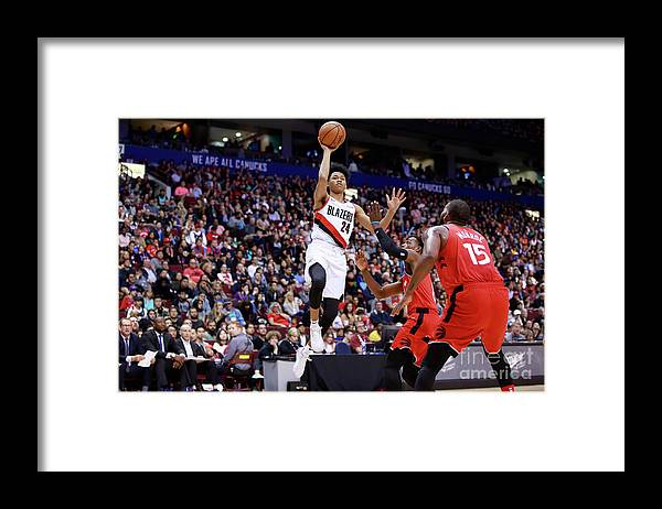 Nba Pro Basketball Framed Print featuring the photograph Portland Trail Blazers V Toronto Raptors by Jeff Vinnick