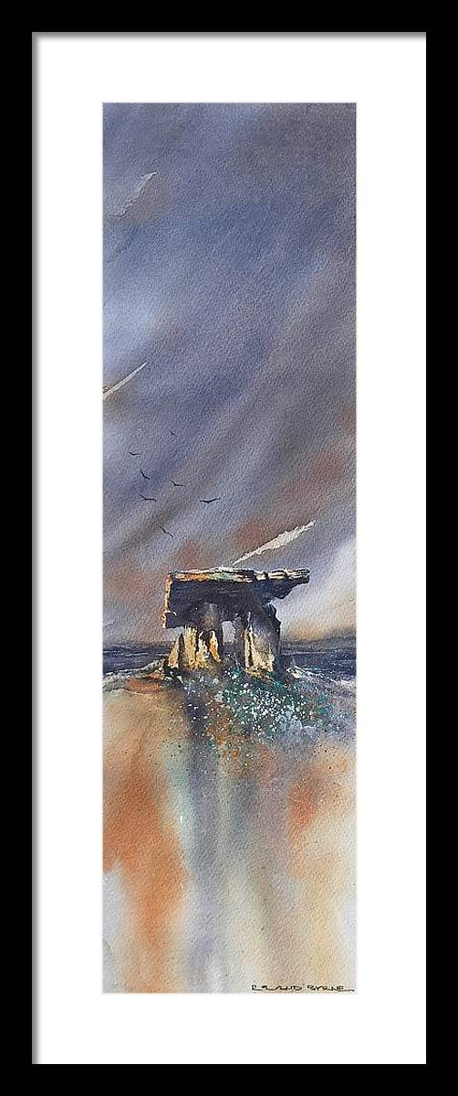 Ireland Framed Print featuring the painting Poulnabrone portal Tomb by Roland Byrne