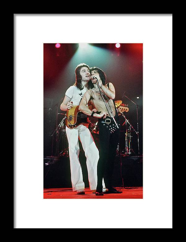 Singer Framed Print featuring the photograph Queen In Concert by Michael Ochs Archives