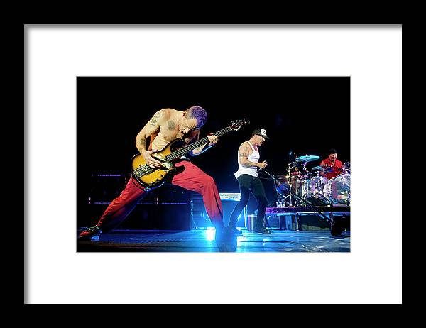Event Framed Print featuring the photograph Red Hot Chili Peppers Perform At O2 by Neil Lupin
