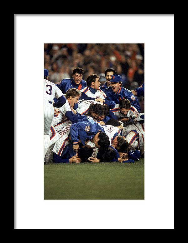 1980-1989 Framed Print featuring the photograph Red Sox V Mets by T.g. Higgins