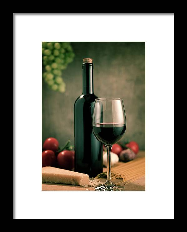 Cheese Framed Print featuring the photograph Red Wine And Food, Italian Style by Kontrast-fotodesign