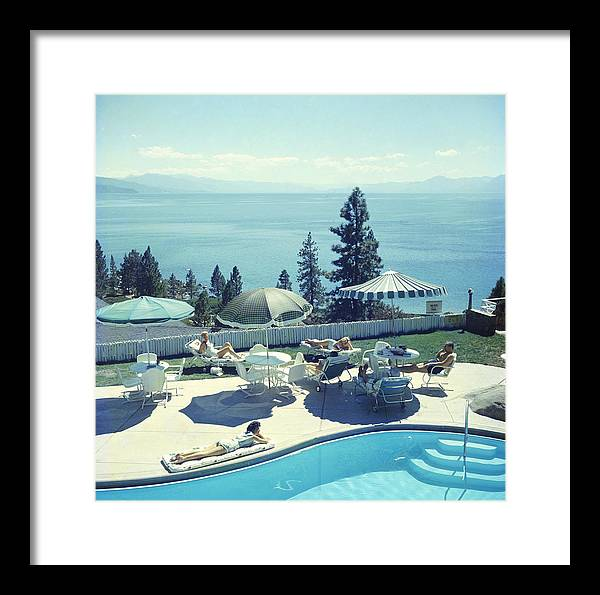 People Framed Print featuring the photograph Relaxing At Lake Tahoe by Slim Aarons